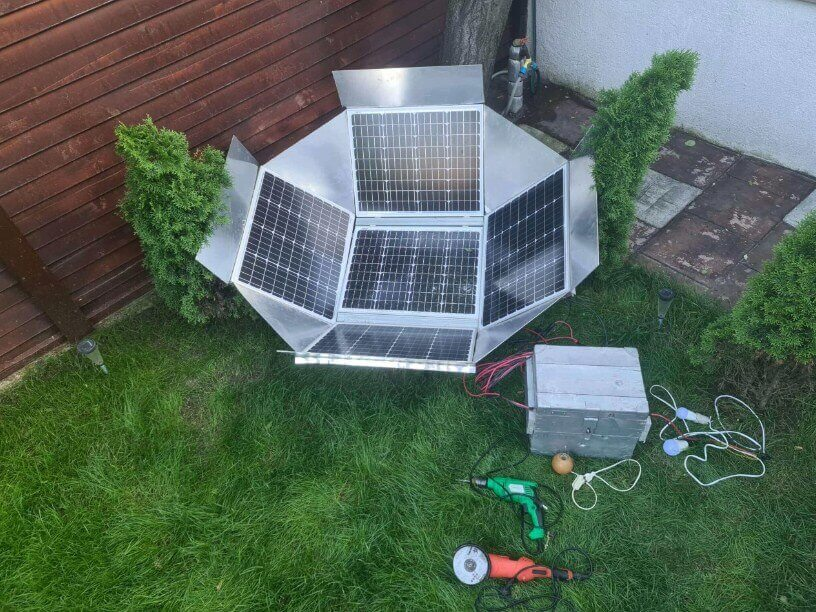 DIY Dish System in a garden producing electricity